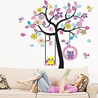 Fun Goo - Adhesivo reutilizable de pared para dormitorio infantil con diseño de árbol con búhos (170 x 160 cm), multicolor