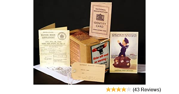 SET OF 10 1940/'s Gas Mask Box-Ration Book-ID Card-Postcard /& Luggage label Sets