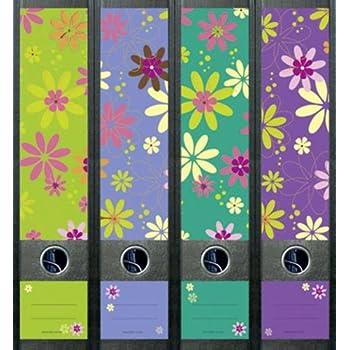 4er Set Ordnerr/ücken f/ür breite Ordner Hibiscus Blume Flower Aufkleber Etiketten Deko 470