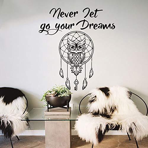 Eule Dream Catcher Wall Decal Zitat lassen Sie nie Ihre Träume böhmischen Bettwäsche Dekor abnehmbare DIY Schlüssel Feder Tier Aufkleber 42 * 46cm -