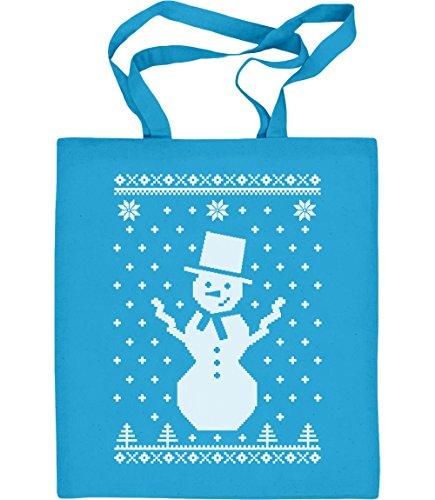 Grosser Schneemann Winter Flocken Weihnachten Jutebeutel Baumwolltasche Hellblau