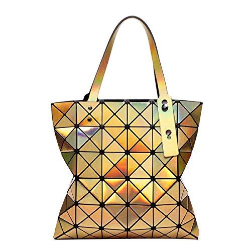 Handtasche Tasche Laser Schultertasche Gold Frauen Geometrie Folding Variety tvwqCpxA