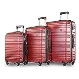 Merax ® Set of 3 Light Weight Hardshell 4 wheel Travel Trolley Suitcase
