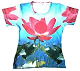 Ticila Damen T-Shirt Blau Asia Orchidee All Over Print Special Edition High Quality Designer Tee S 34/36
