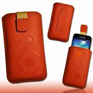 Coque de protection Etui similicuir orange / marron M74 Gr.3 pour Apple iPhone 5 / iPhone 5S / iPhone 5C / Samsung Galaxy ACE 3 S7270 / S7275 / Sony Xperia M / Blackberry Q5 / Vodafone Smart III / Smart 3 / Fairphone / Samsung Galaxy Trend S7560 / LG Optimus L4 II E440