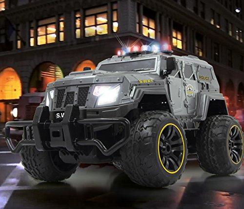 BUSDUGA - 2486 RC Monstertruck Polizei SWAT, 1:12 , RTR, inkl. 13 LED Lichter , Signallichter mit 4 Intervallen