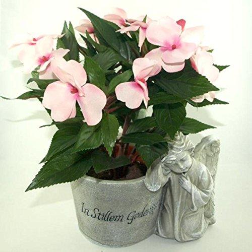 Grabschmuck Grabgesteck mit Kunstpflanze in Rosa. Höhe 25cm