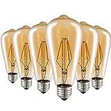 LED Lampadina Vintage Edison, E27 4W ST64 Retro Stile Lampada Bianca Calda Lampadine Decorativo Luce Antico Filamento per Casa, Ristorante, Bar, Caffe - 6 Pezzi