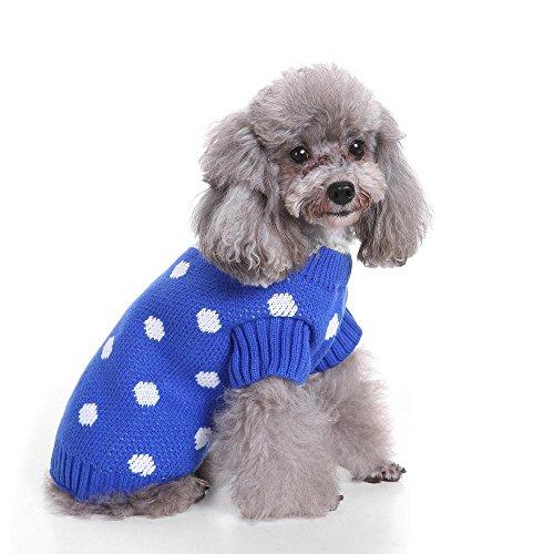 Royal Blue Polka Dots Hundehaustier Pullover mit gerolltem Ausschnitt LNAG , l (Royal Vampire Halloween Kostüm)