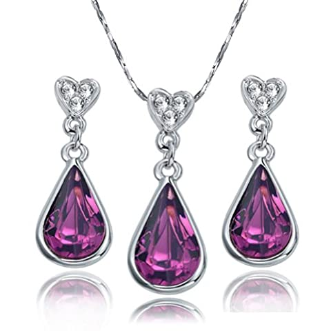Yoursfs Amethyst Pendant 18ct White Gold Plated Gemstone Necklace and Earring for Women