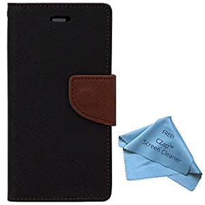 CZap Mercury Diary Goospery Card Wallet Flip Cover Back Case for Micromax Canvas Silver 5 Q450 - Brown Black