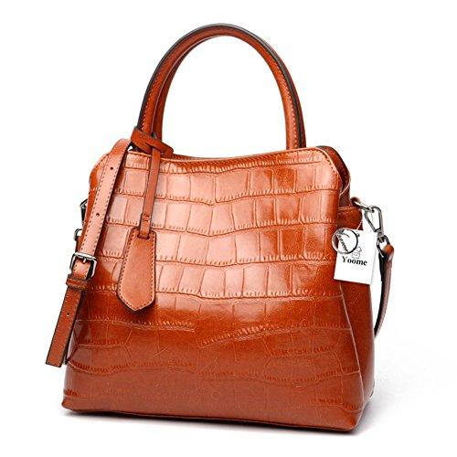 Borsa a tracolla in pelle stampa coccodrillo Yoome Classic Donna Borsa a tracolla in pelle stampa coccodrillo borse donna - Borgogna Marrone