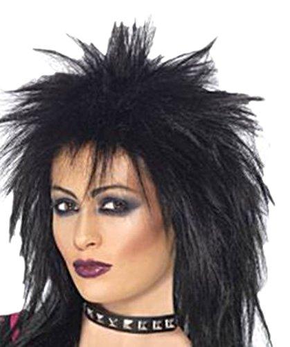 Fancy Ole - Damen Frauen Perücke 80er Rock Diva, Schwarz