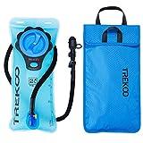 TREKOO Trinkblase 2L mit Taschen - BPA-frei, Fahrrad Trinkblasen Wasserblase Trinkbeutel Sport Wasser Blasen antibakteriell und auslaufsicher für Wandern Camping Radfahren