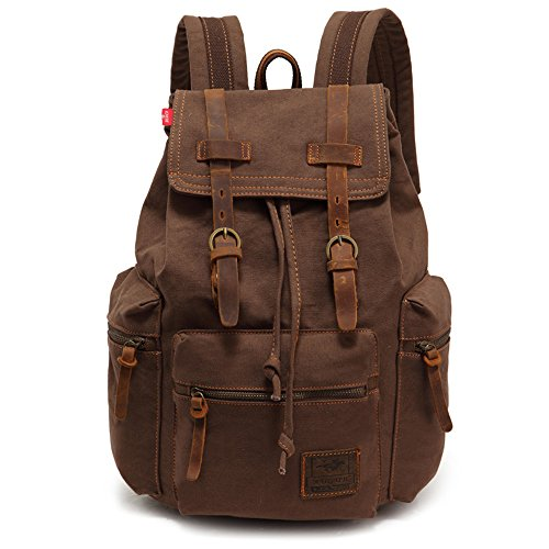 YuHan Canvas Backpack Unisex Vintage Casual Rucksack Laptop Daypacks Macbook Bag Schoolbag Student Bookbag Satchel Hiking Camping Bag Coffee