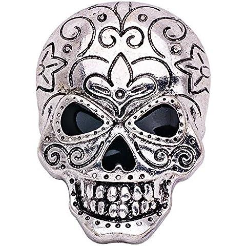 Eizur Unisex Halloween Scheletro Cranio Spilla Pin Cristallo Strass Lapel Pin per Costume per Halloween Decorazione Partito Favore Regalo Stile 1-Argento