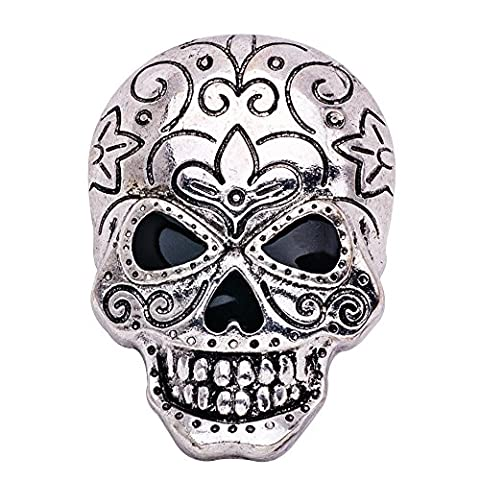 Eizur Unisex Halloween Metal Skeleton Skull Brooch Pin Crystal Rhinestone Lapel Stick Pin Corsage Accessory for Theme Party Decoration Gift Evening Party Style