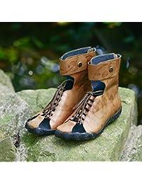 YNXZ-SHOE Mujeres Sandalias Cabeza Redonda Cuero Zapatos Planos Moda De La Personalidad Cinco Dedos Zapatos De...