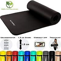 MSPORTS Gymnastikmatte Premium inkl. Tragegurt + Übungsposter + Workout App I Hautfreundliche Fitnessmatte 190 x 60 oder 100 x 1,5 cm - versch. Farben Phthalatfreie Yogamatte