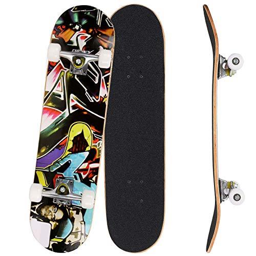 Bunao Skateboard Komplettboard 31 x 8 Zoll mit ABEC-7 Kugellager 9-lagigem Ahornholz für Kinder Jungendliche und Erwachsene, Belastung 100kg (Farbe 3)