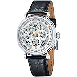 Thomas Earnshaw Grand calendar Men's Automatic Watch with Silver Dial Analogue Display with Black Leather Strap ES-8043-02