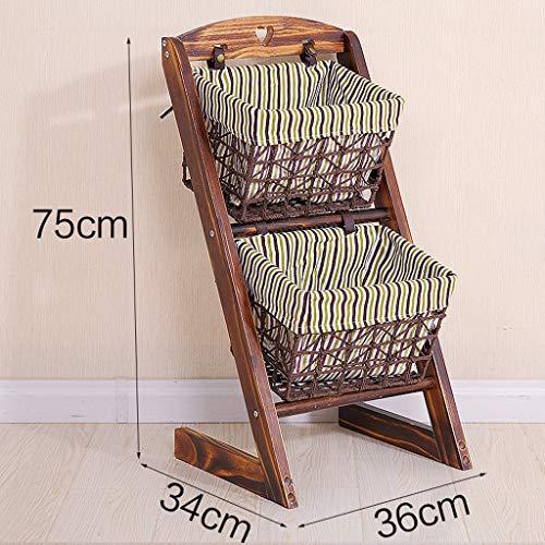 WXL Massivholz Lagerung Regal Wohnzimmer Tuch Kleinigkeiten Lagerung Regal Rattan Korb Schlafzimmer Multi-Layer-Lagerregal WXLV (Farbe : C) -