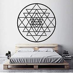 Pbbzl Pegatinas De Vinilo De Pared Geometría Sagrada Meditación Calcomanía, Diagrama Místico Espiritual Decoración Para El Dormitorio 57X57Cm