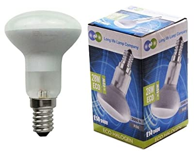 5 x R50 Reflector Halogen Energy Saving 28w Equivalent 40w Dimmable light bulbs E14 Edison SES by Long Life Lamp Company from Long Life Lamp Company