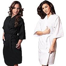 fratelliditalia - Bata tipo Kimono para esteticien, masajista o peluquera Bianco M