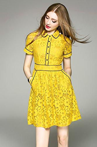 LAI MENG Swing Damen Elegant Puppenkragen Spitzen Brautkleid Festliches Cocktailkleid Skaterkleid Abendkleid Gelb
