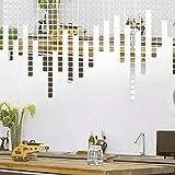 Hanbaili 100pcs 2x2cm Silber 3D Wandaufkleber Mosaik Spiegel für Sofa Wohnzimmer Dekor Kunst Design Worte Dekor klebende Dekor Ideen beste Geschenk für Mädchen Jungen