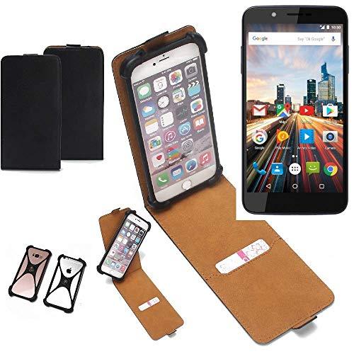 K-S-Trade Flipstyle Case Archos 55 Helium 4Seasons Schutzhülle Handy Schutz Hülle Tasche Handytasche Handyhülle + integrierter Bumper Kameraschutz, schwarz (1x)
