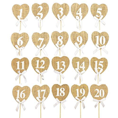 Numeri da tavolo per matrimoni vintage 1-20 Decorazione per tavolo con forma di cuori rustici (confezione da 20)