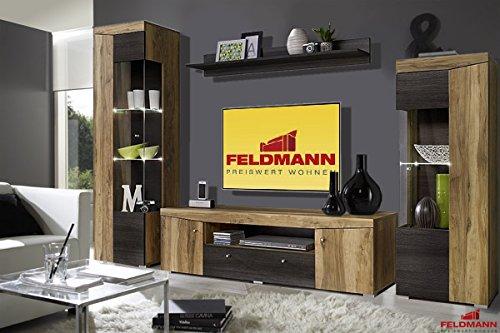 Wohnwand 4 Teilig Satin Nussbaum / Touchwood Wenge