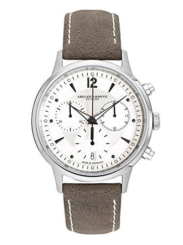 Abeler & Söhne fabricado en Alemania–Reloj de pulsera para mujer con cronógrafo, cristal de zafiro y correa de piel as3302