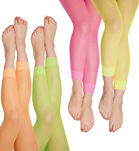 KarnevalsTeufel Netz-Leggings in verschiedenen Neon-Farben - Netzstrumpfhose Neon-grün