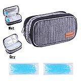 Dual-Layer Insulin kühltasche Nass-Trocken-Trennung Diabetiker Tasche Kühltaschen Boxen mit 2 Kühlakkus für Medikamente Kühler (Grau)