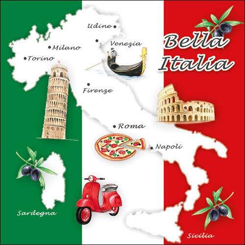 20 Servietten Italien´s schöne Seiten mit Sehenswürdigkeiten als Tischdeko für traditionell italienische Mahlzeiten 33x33cm