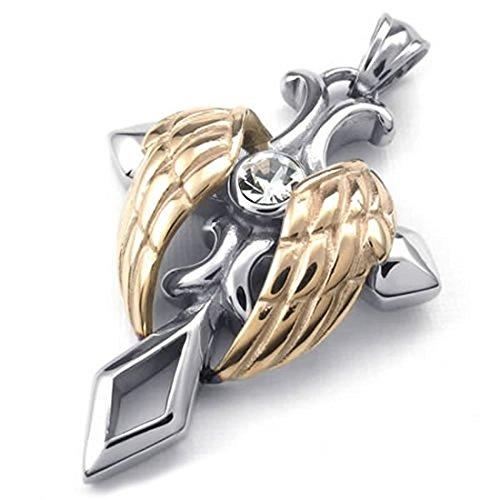 Engel Fluegel Halskette - TOOGOO(R)Schmuck Edelstahl Engel Fluegel Kreuz Anhaenger mit 60cm Kette, Halskette fuer Herren Damen, Silber +Rose Gold