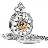 Treeweto, orologio da taschino meccanico, con coperchio e numeri romani, da uomo, vintage, argentato, con scatola regalo