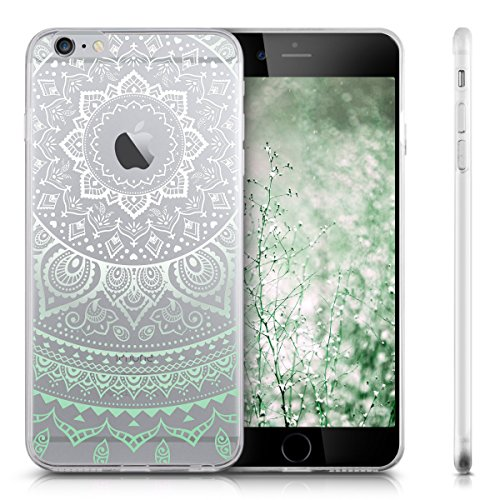 kwmobile Hülle für Apple iPhone 6 Plus / 6S Plus - TPU Silikon Backcover Case Handy Schutzhülle - Cover Metallic Rosegold Indische Sonne Mintgrün Weiß Transparent