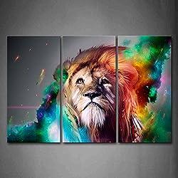 Coloré Lion Artistique Peinture murale d'art L'image imprimée sur toile Animal Photos d'œuvres d'art pour le bureau à domicile Décoration moderne