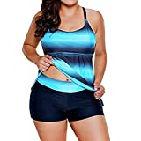 AmazingDays Schwimmanzug 2 Teilig Bikini Push Up Sexy Gepolstert Bademode Retro Brazilian Style Badeanzug Damen Figurformend (Blau, XL)