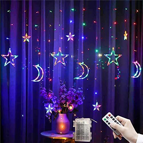 2.5M-Mond-Stern-String-Lampe, LED-Vorhang-Lichter Für Weihnachtsfeiertags-Hochzeits-Dekoration Laterne, Batteriebetriebenes, Mit Fernbedienung (Multicolor)