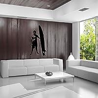 Surfer Amico dei bicchierini del bordo Con Tavola da surf Wall Sticker Palestra Sport decalcomania di arte disponibile in 5 dimensioni e 25 colori Extra Grande Bianco