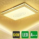 HG® 64W Deckenlampe Kristall LED Eckig Wohnzimmer Flurleuchte Design Starlight Effekt Schlafzimmer