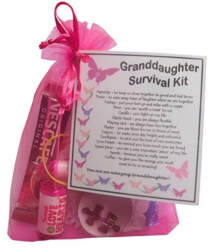 SMILE GIFTS UK Granddaughter's Survival Kit Gift (Great present for Birthday, Christmas) - granddaughter gift, gift for granddaughter, granddaughter present, present for granddaughter
