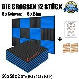 Super Dash Kombination (12 Pack) von 50 X 50 X 2 cm Akustikschaumstoff Noppenschaumstoff Akustik Dämmmatte Schallisolierung Schaumstoff Polster Fliesen SD1035 (BLAU & SCHWARZ)