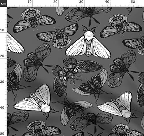 Motte, Insekt, Totenköpfe, Gespenstisch, Halloween, Augen Stoffe - Individuell Bedruckt von Spoonflower - Design von Jadegordon Gedruckt auf Leinen Baumwoll Canvas (Individuell Bedruckte Halloween Taschen)