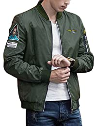 Classic Mens Bomber Jacket Lightweight Pilot Vintage Zip Jacket Coat With Badge Patches